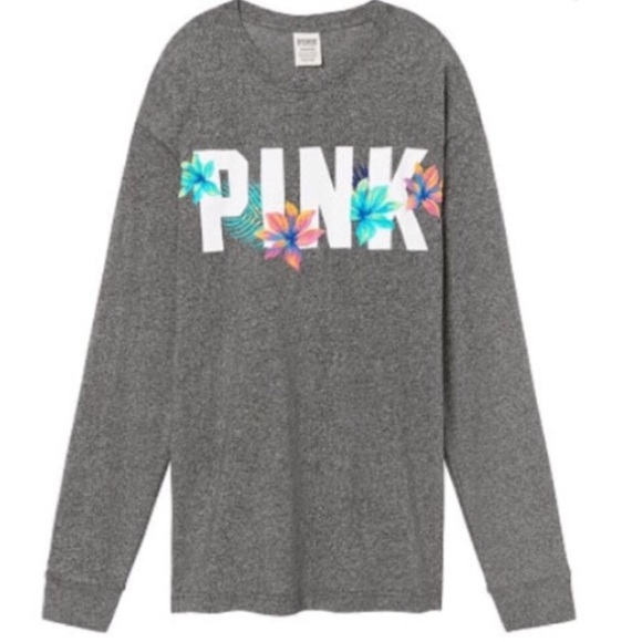 PINK Victoria's Secret Tops - NEW VS PINK Embroidered Campus Tee